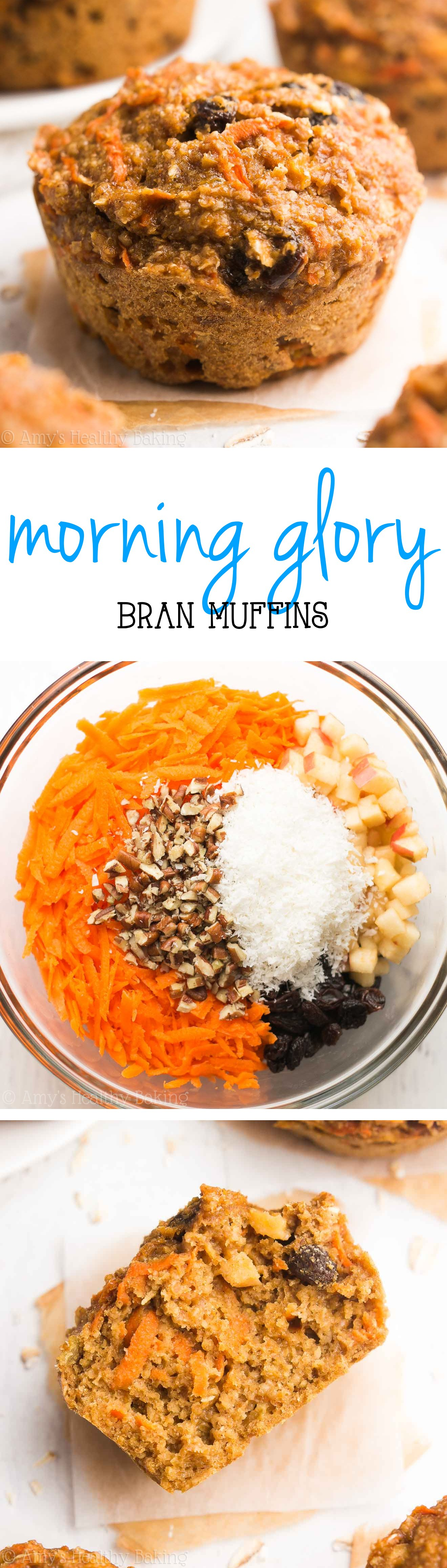 Morning Glory Bran Muffins -- so easy & healthy! The perfect guilt-free, delicious breakfast!