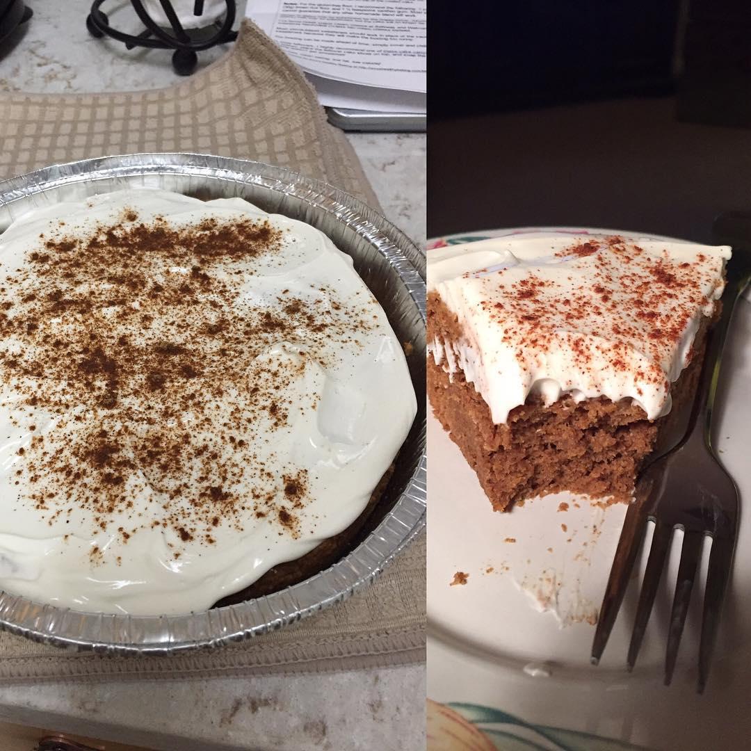 pumpkin cake with cream cheese frosting | @janeska17