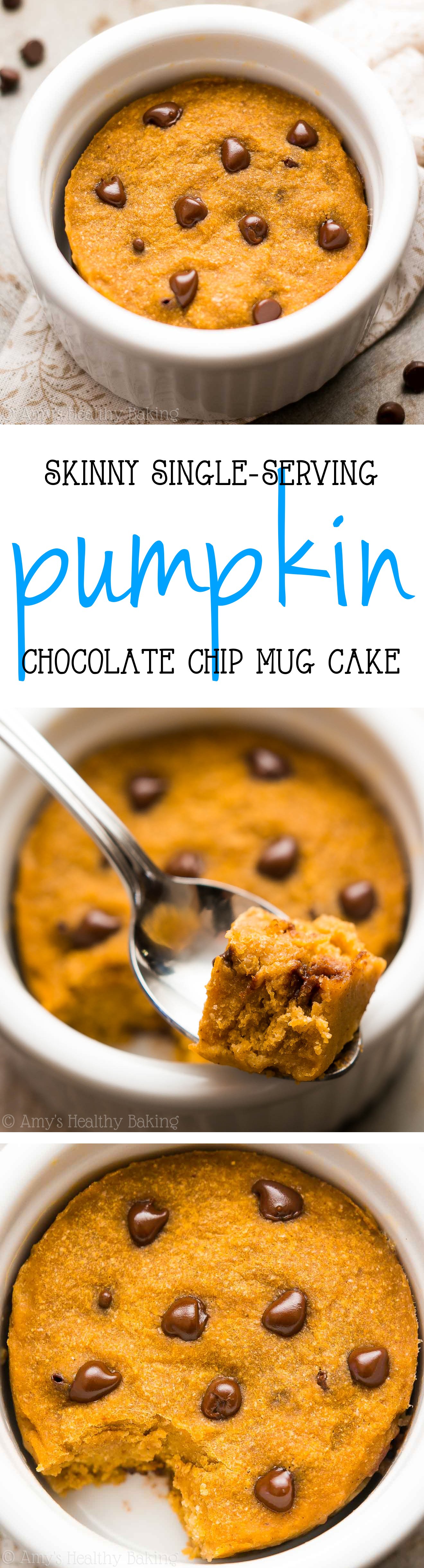 The BEST Skinny Single-Serving Pumpkin Chocolate Chip Mug Cake -- an easy recipe that's practically healthy enough for breakfast! Just 124 calories!