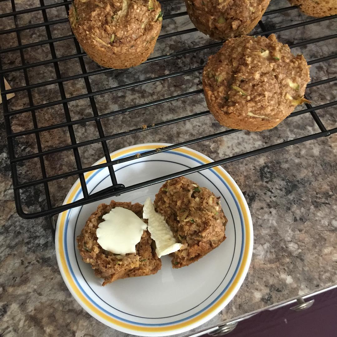 zucchini bread bran muffins | @helen_thomas_editor