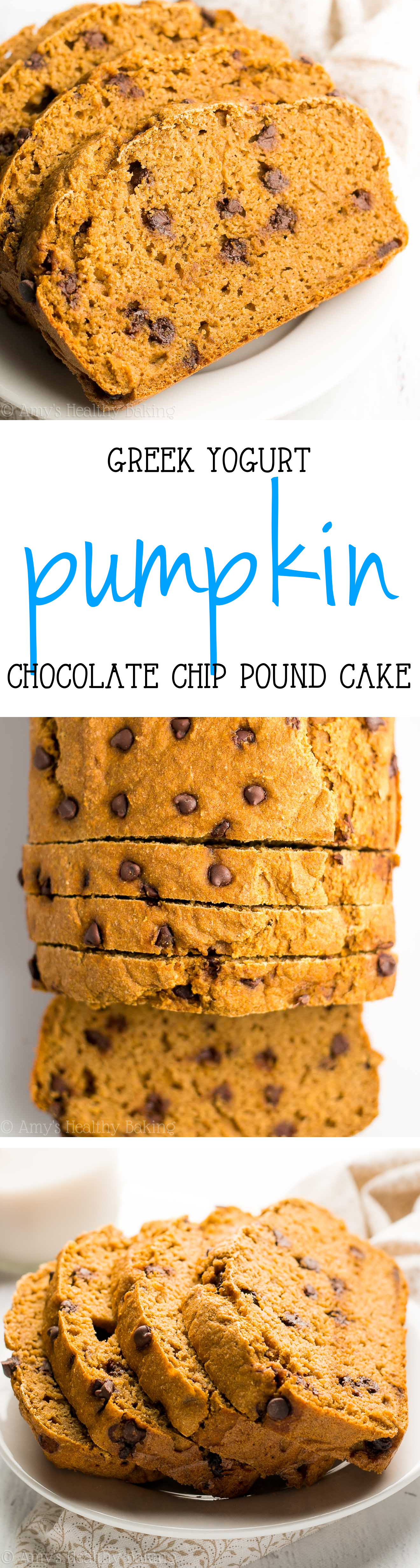 Skinny Greek Yogurt Pumpkin Chocolate Chip Pound Cake -- just 150 calories & 6g+ of protein! Practically healthy enough for breakfast!