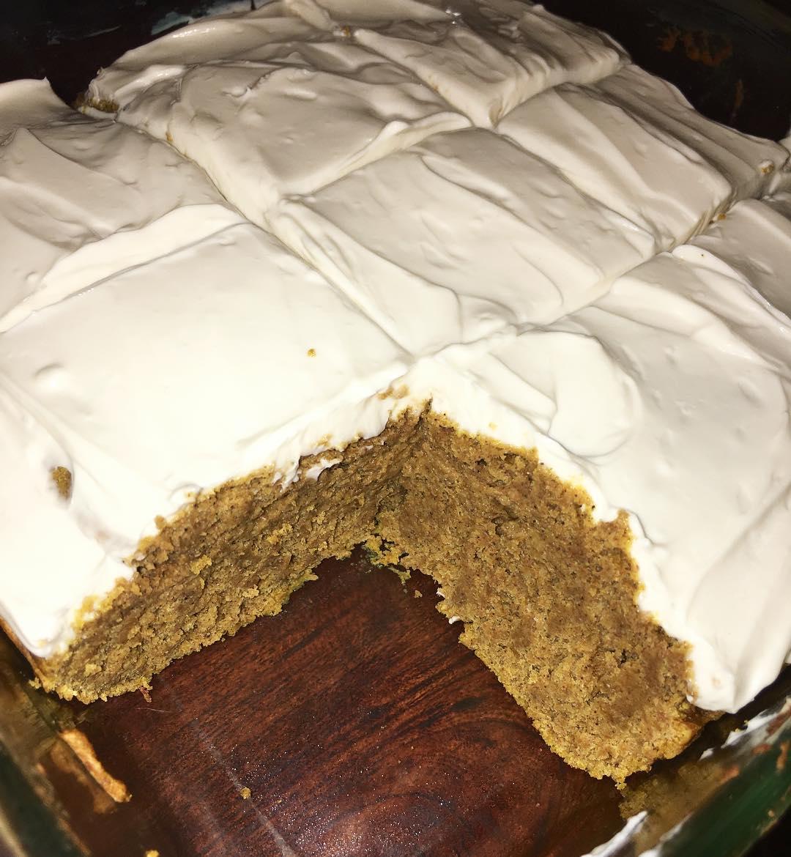 pumpkin cake with cream cheese frosting by @nikki_djais