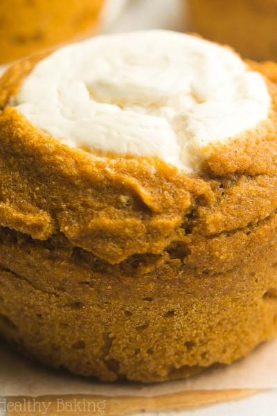 Healthy Pumpkin Cream Cheese Muffins {Starbucks Copycat!}