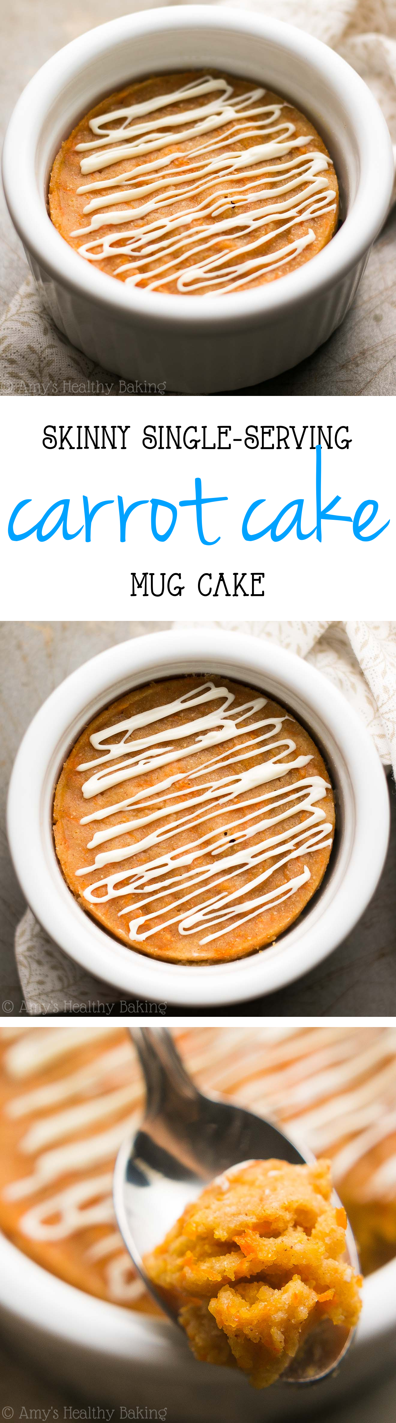 Skinny Single-Serving Carrot Cake Mug Cake -- just 115 calories & nearly 6g of protein! Basically healthy enough for breakfast!