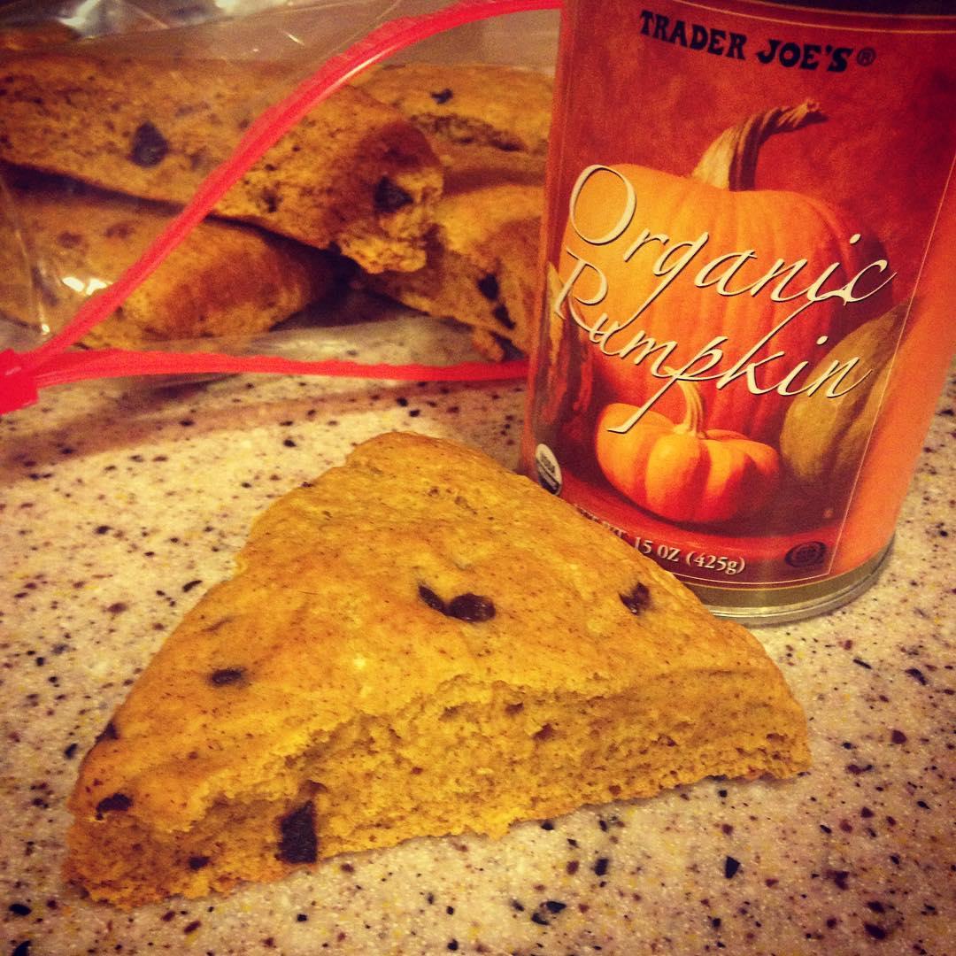 clean pumpkin chocolate chip scones by @bestlaidpans