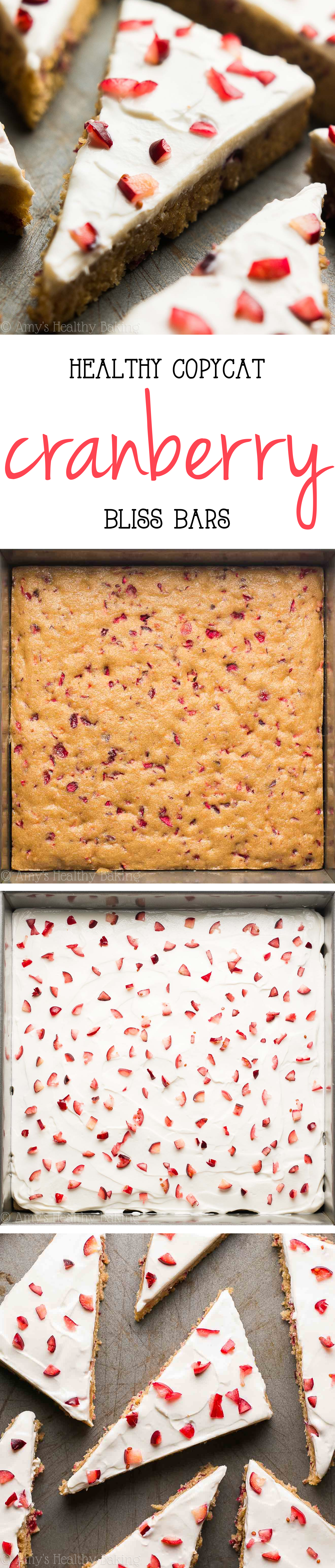 Healthy Copycat Cranberry Bliss Bars -- only 108 calories! And they taste even better than Starbucks!