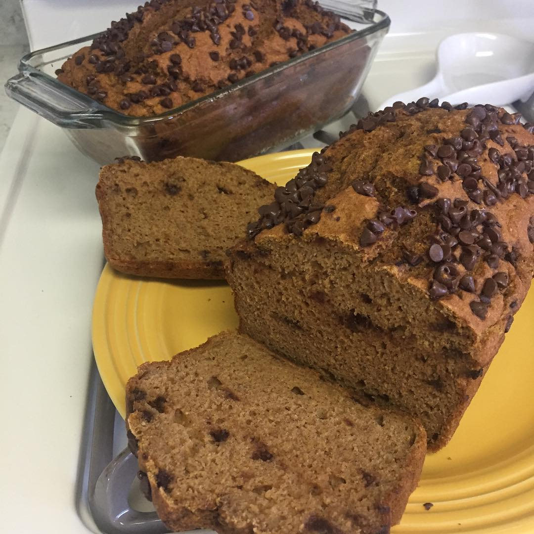 greek yogurt pumpkin chocolate chip pound cake {one of my favorites!} by @janeska17