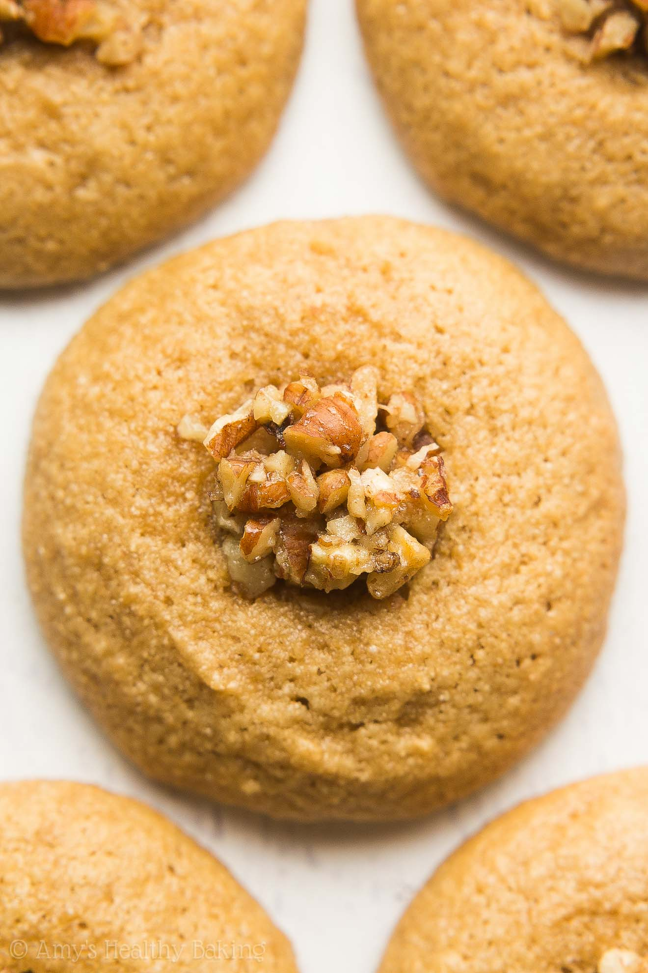 Healthy Pecan Pie Thumbprint Cookies -- just 50 calories! Sweet, buttery & completely guilt-free!