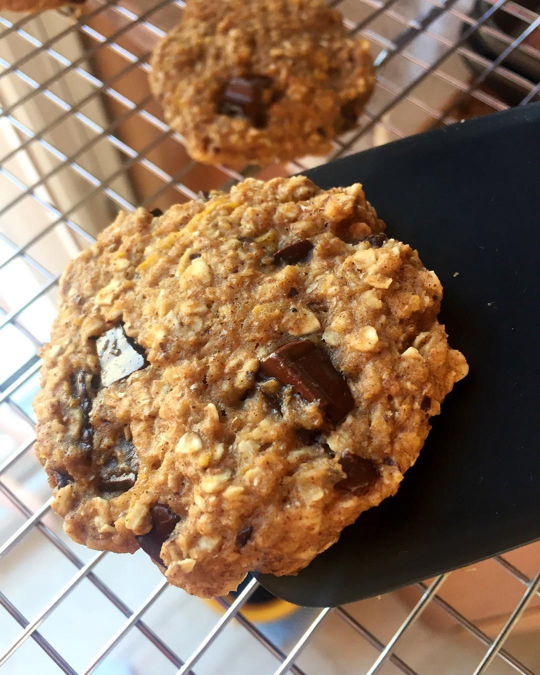 pumpkin pie chocolate chip oatmeal cookies by @angiethefoodie