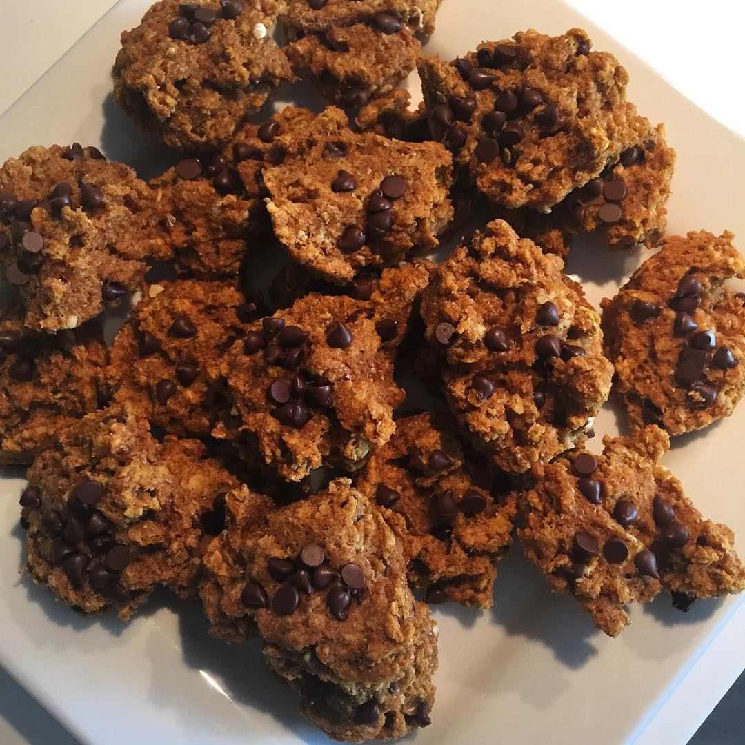 pumpkin pie chocolate chip oatmeal cookies by @jessdoeshealthystuff