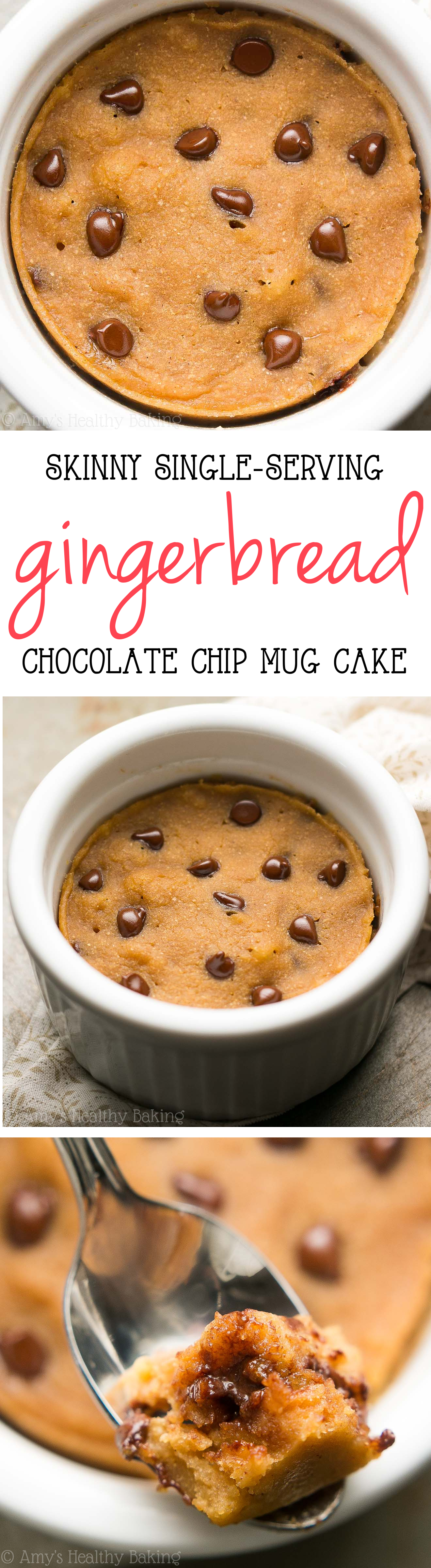 Skinny Single-Serving Chocolate Chip Gingerbread Mug Cake | Amy's ...