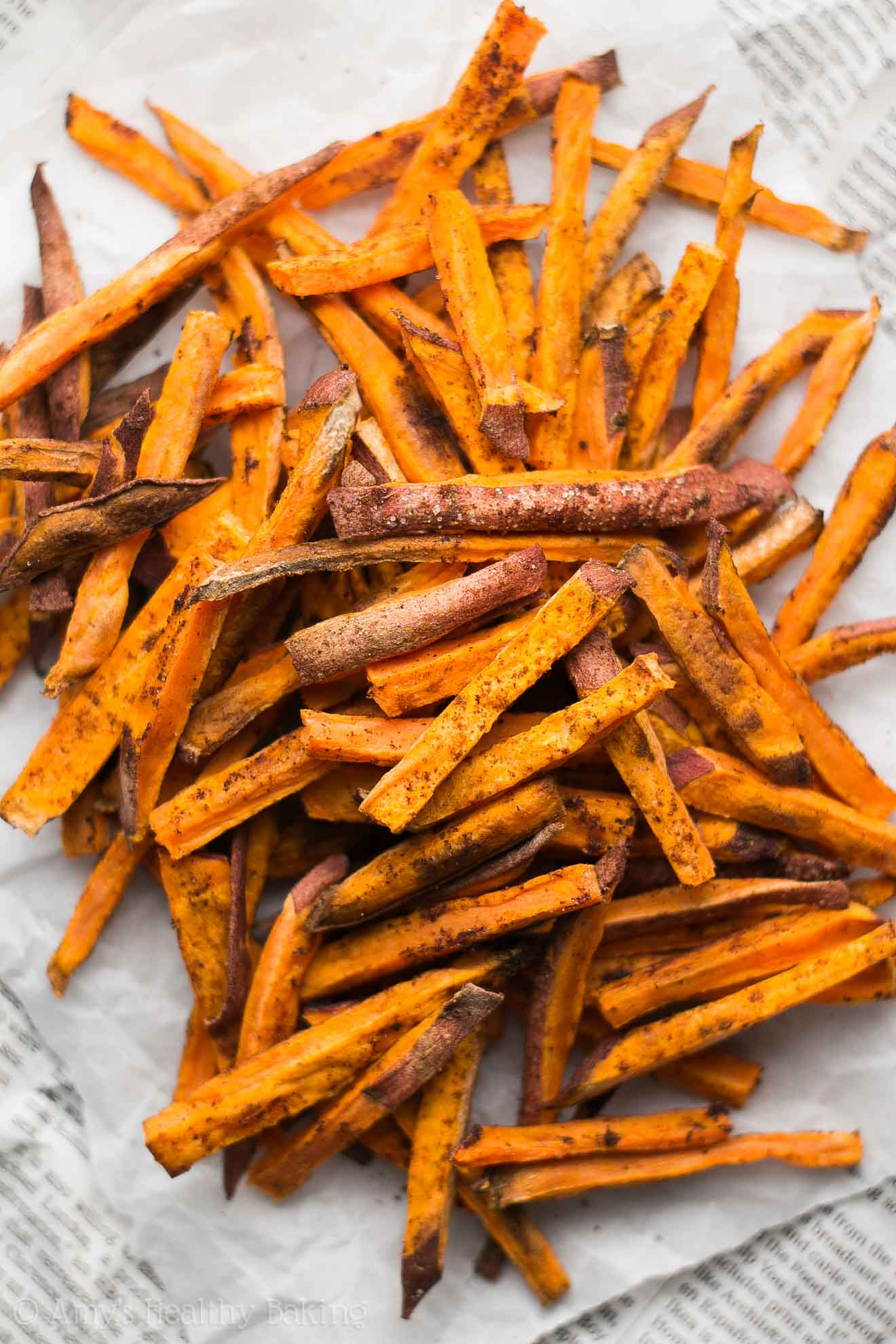 Baked Spicy Cinnamon Sweet Potato Fries Amy S Healthy Baking