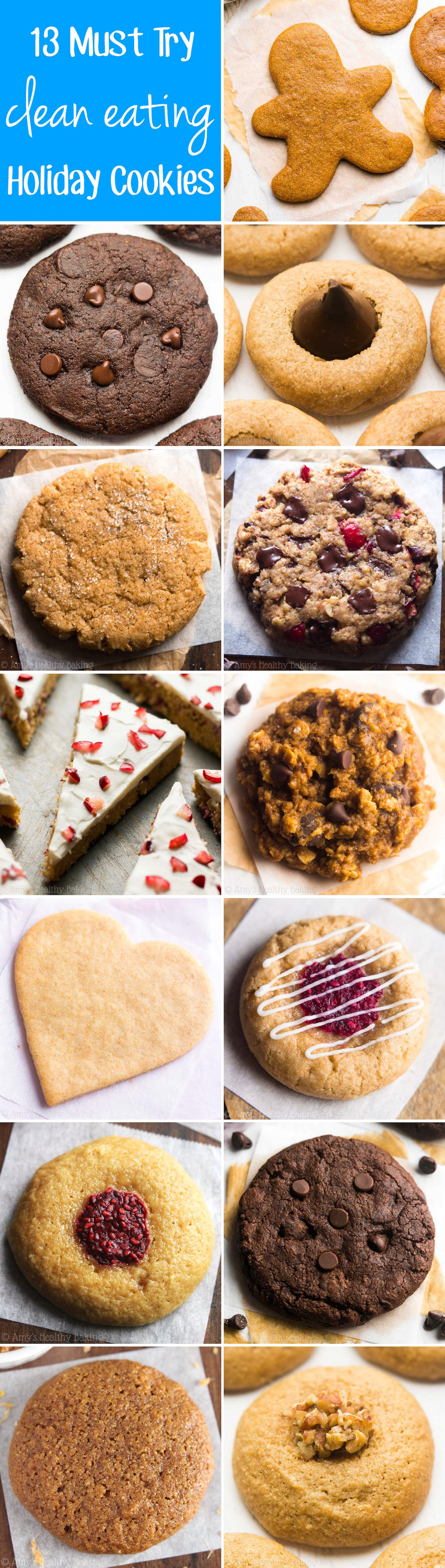 13 Must Try Clean Eating Holiday Cookie Recipes -- so easy & good! They're all made with NO refined flour or sugar! And they don't taste healthy at all!