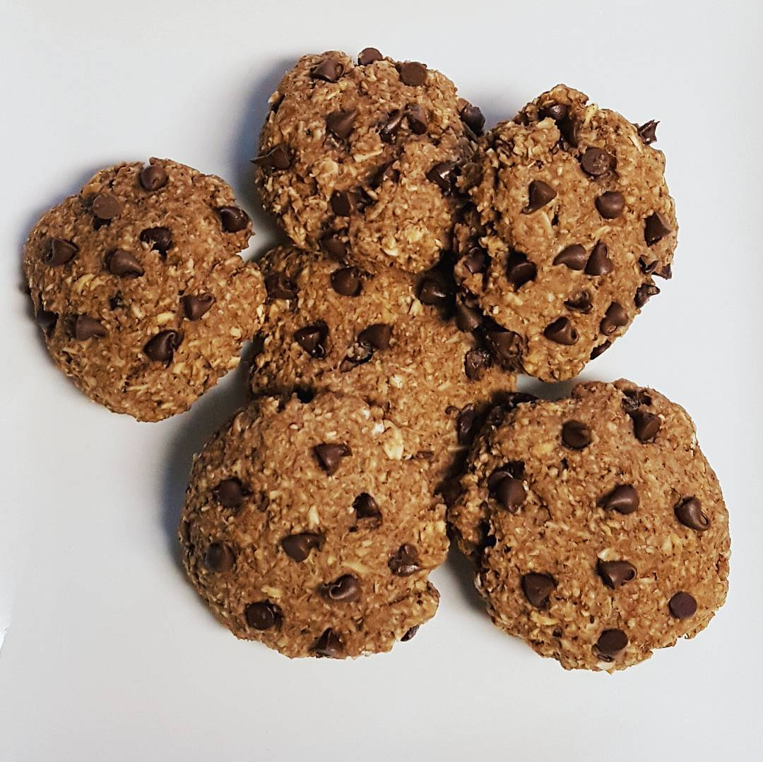 chocolate chip eggnog oatmeal cookies by @sara.getsfit
