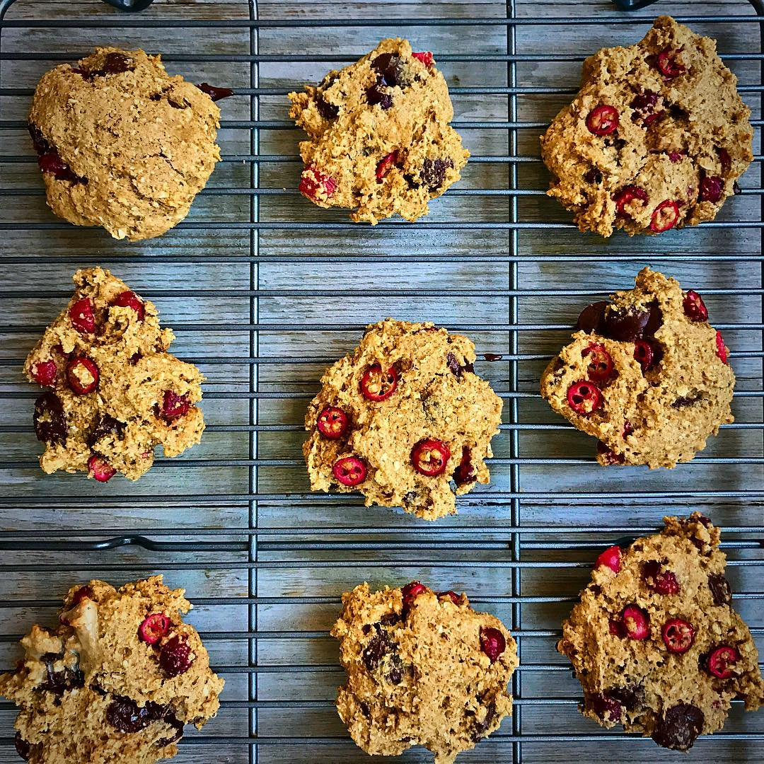 dark chocolate cranberry oatmeal cookies by @thepandapost