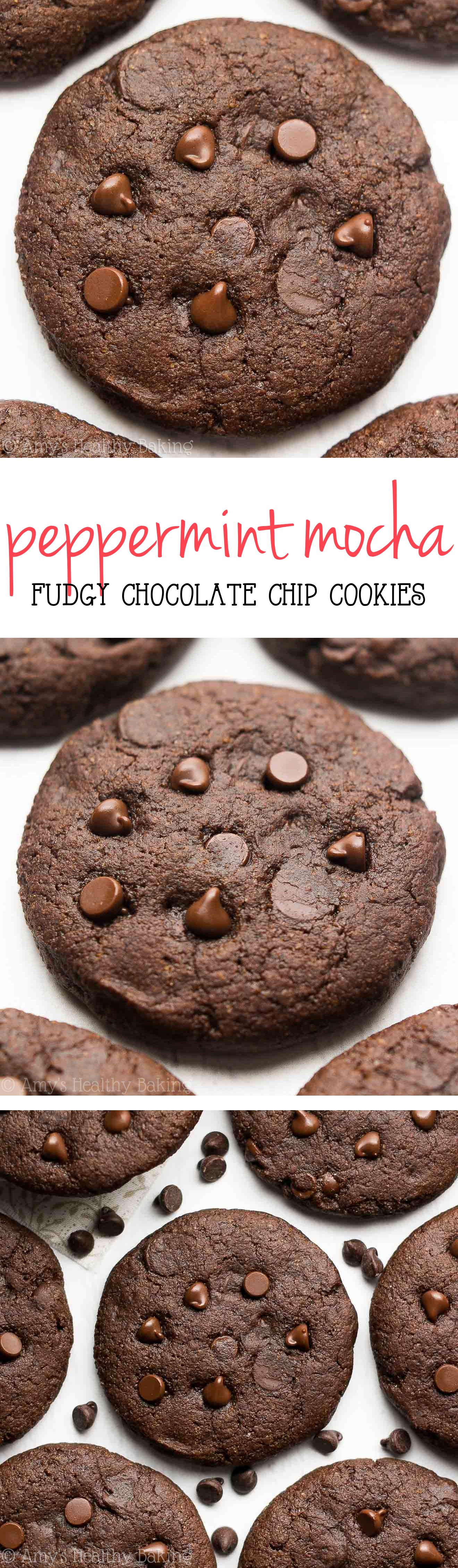Healthy Fudgy Peppermint Mocha Cookies -- only 89 calories & like a cross between brownies & cookies! My FAVORITE cookie recipe!