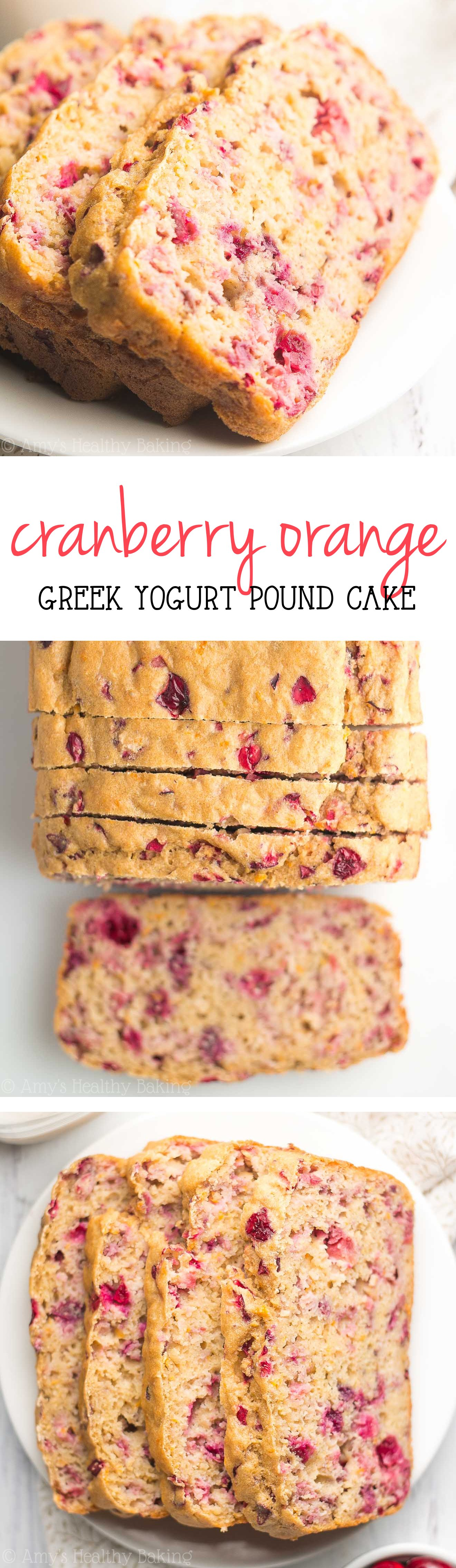 Healthy Greek Yogurt Cranberry Orange Pound Cake -- just 131 calories + nearly 7g protein! This easy recipe is SO good & secretly healthy enough for breakfast!