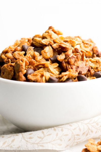 Healthy Chocolate Chip Peanut Butter Granola {Recipe Video!}