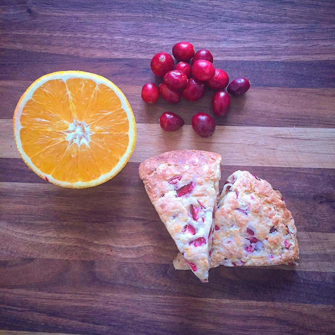 healthy cranberry orange scones by @katiebobatie_