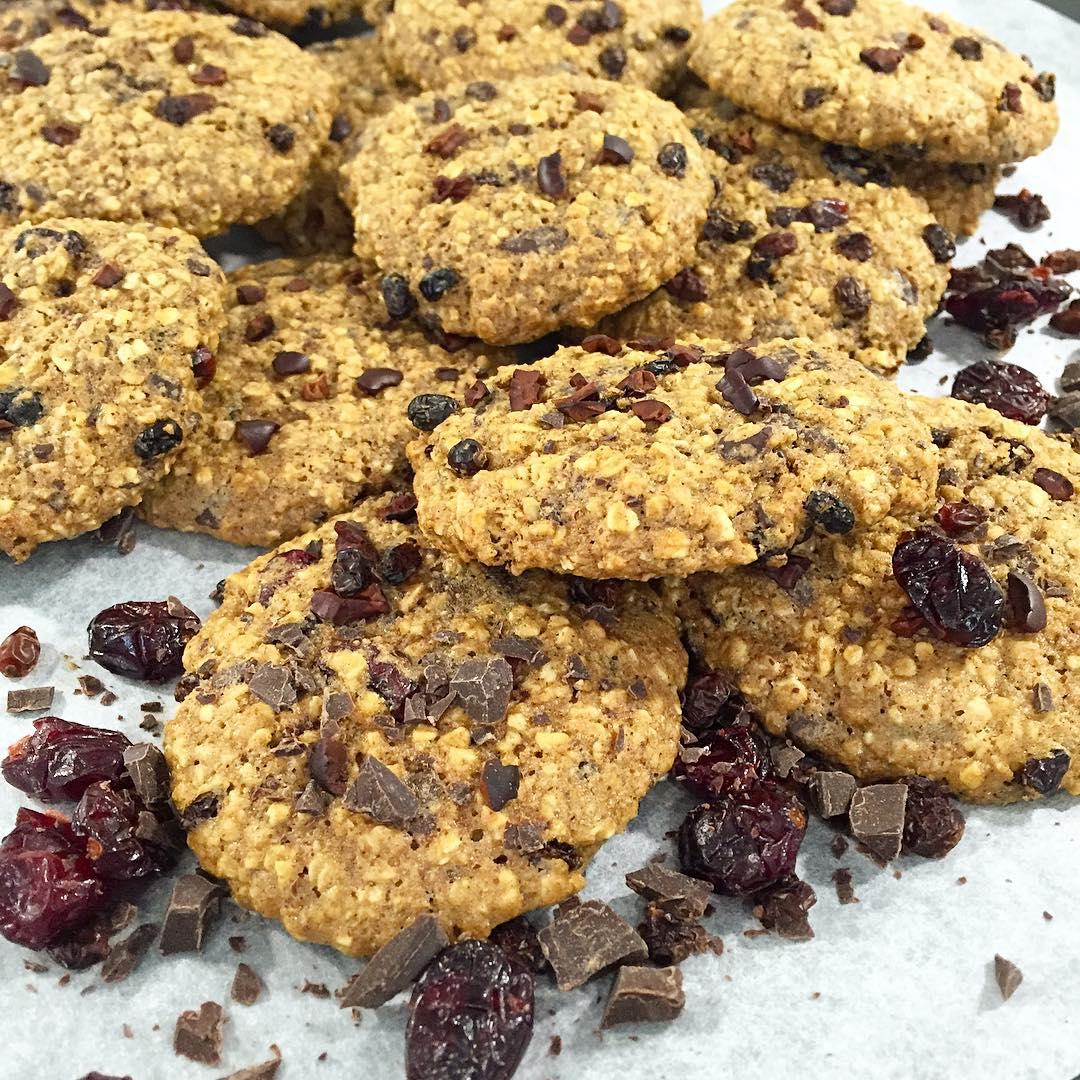 dark chocolate cranberry oatmeal cookies by @traintreattravel