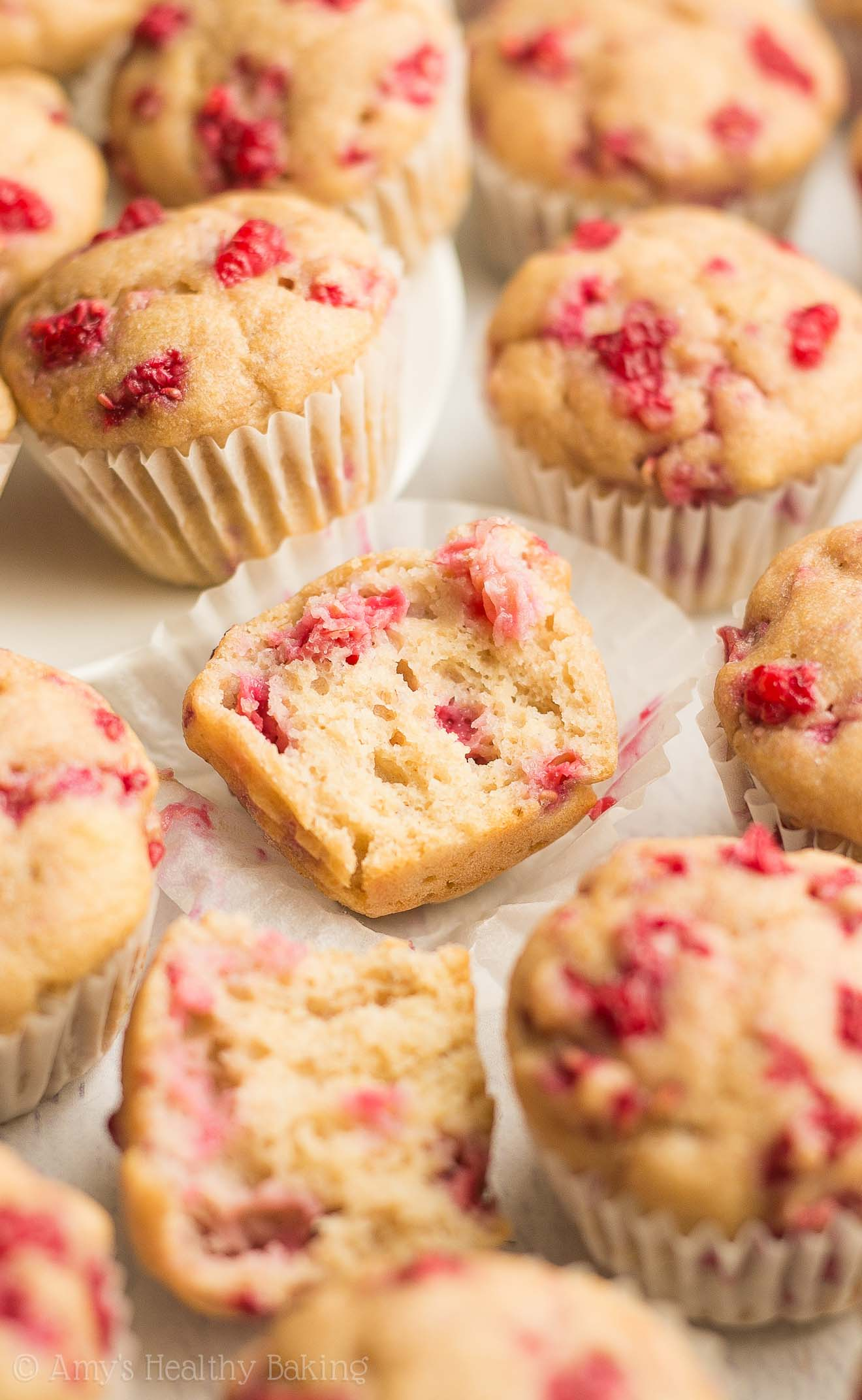 Healthy Raspberry Almond Mini Muffins -- only 35 calories & they taste like cupcakes!