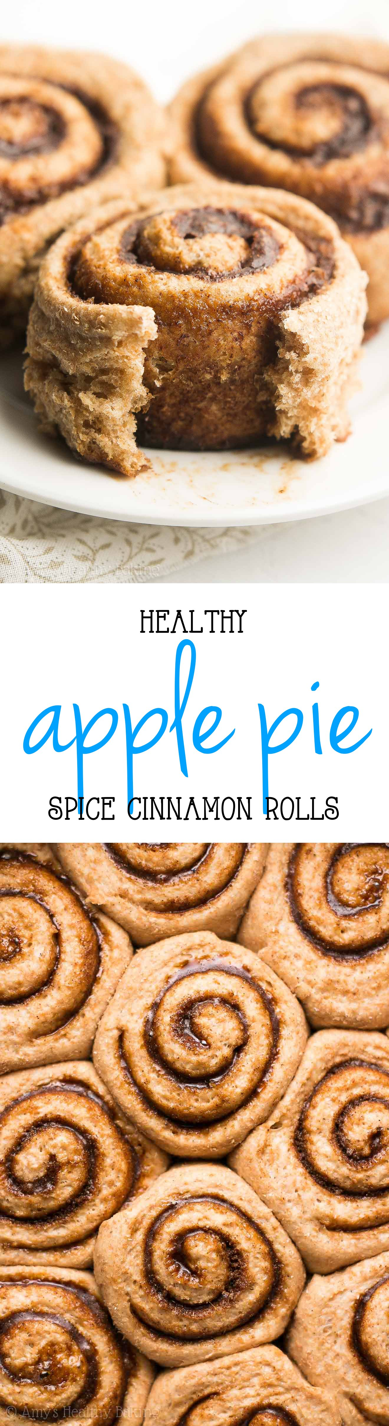 Healthy Apple Pie Spice Cinnamon Rolls -- only 112 calories + the BEST I've ever tasted! You'll never use another cinnamon roll recipe again! {The secret's in the spice blend!!}