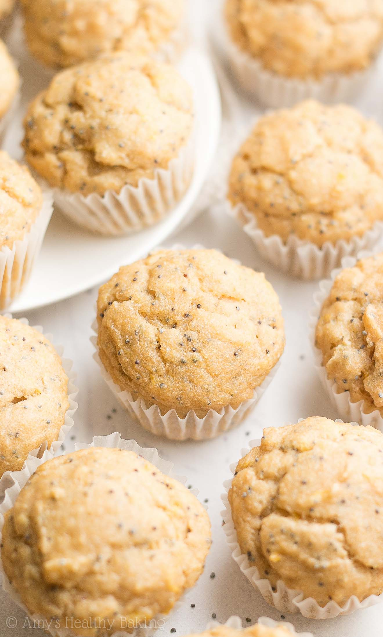 Healthy Lemon Poppy Seed Mini Muffins -- only 38 calories! They taste like they came straight from a gourmet bakery! {easy recipe from @amybakeshealthy}