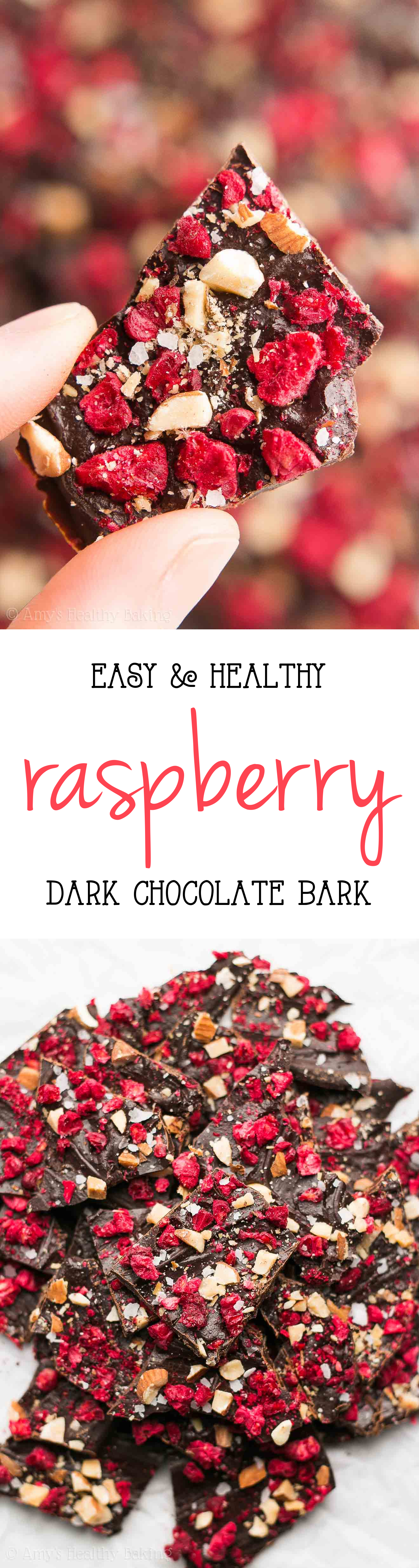 Healthy Raspberry Dark Chocolate Bark -- just 6 ingredients & NO sugar! So easy & perfect for a guilt-free Valentine's Day treat!