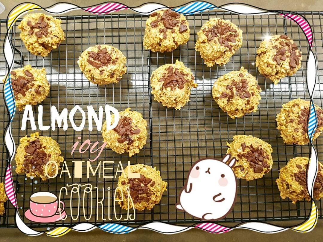 almond joy oatmeal cookies by @annie.chang.gan