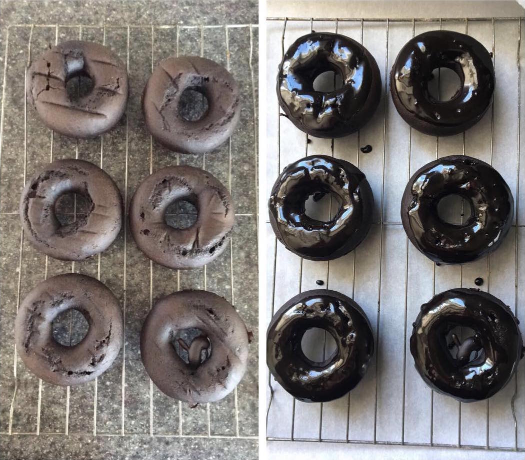 baked chocolate donuts by @thickfitpaige