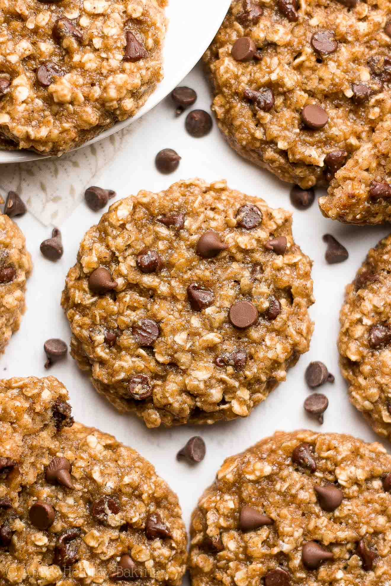 Healthy Chai Spice Chocolate Chip Oatmeal Cookies -- easy, chewy & only 97 calories! The BEST chocolate chip oatmeal cookies I've EVER had! You'll never need another recipe again!