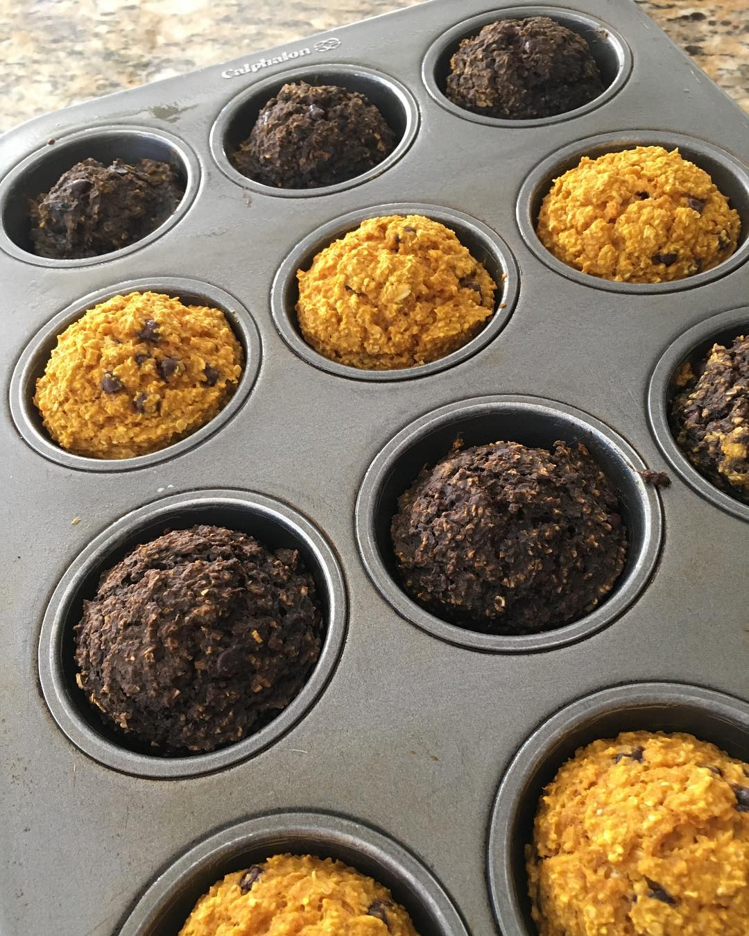 chocolate chip pumpkin mini muffins {half with cocoa in the batter!} by @fit_fiesty_foodlovingmama