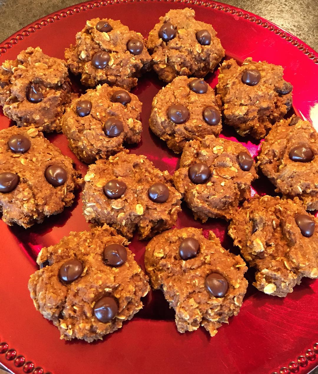 pumpkin pie chocolate chip oatmeal cookies by @danielleepoo