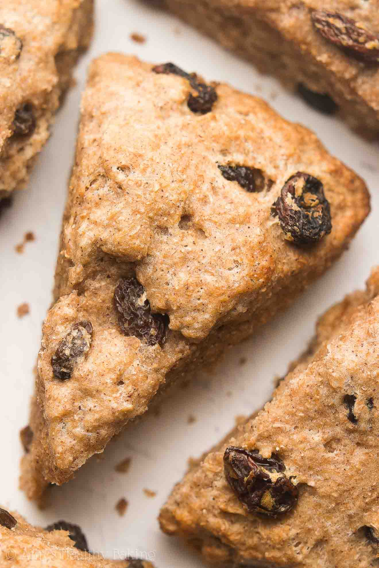 Healthy Cinnamon Raisin Scones -- an easy, one-bowl recipe with just 150 calories! Ready in 30 minutes!
