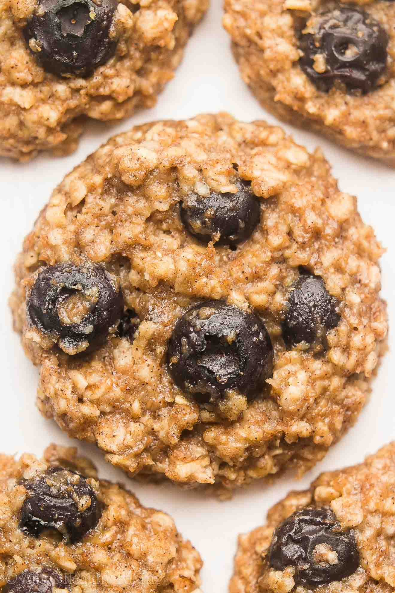 {HEALTHY!} Blueberry Banana Oatmeal Cookies -- soft, chewy & only 89 calories! Called the BEST oatmeal cookies for a reason! You'll never need another oatmeal cookie recipe again!