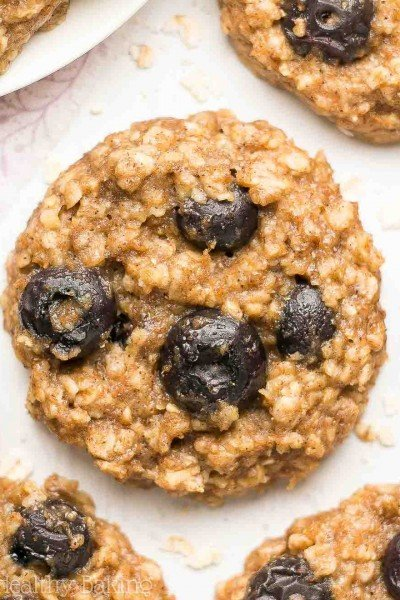 Healthy Blueberry Banana Oatmeal Cookies