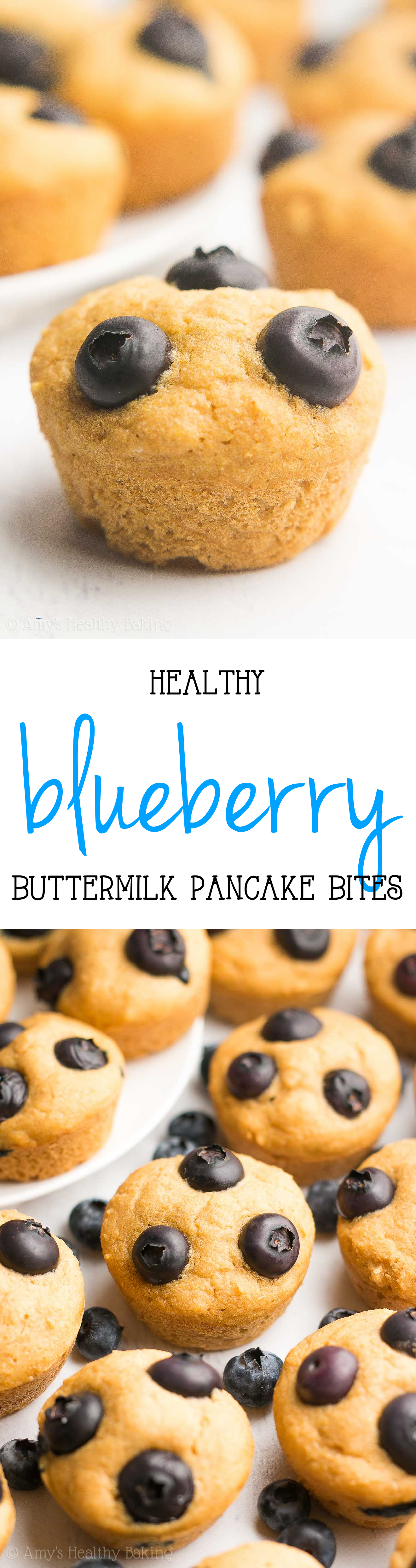 Healthy Blueberry Buttermilk Pancake Bites made in a mini muffin pan