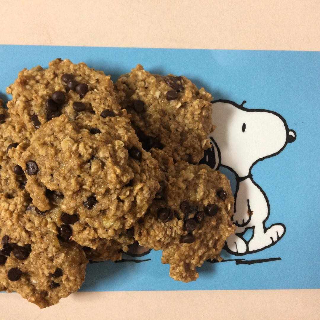 chocolate chip banana bread oatmeal cookies by @steph_piit28