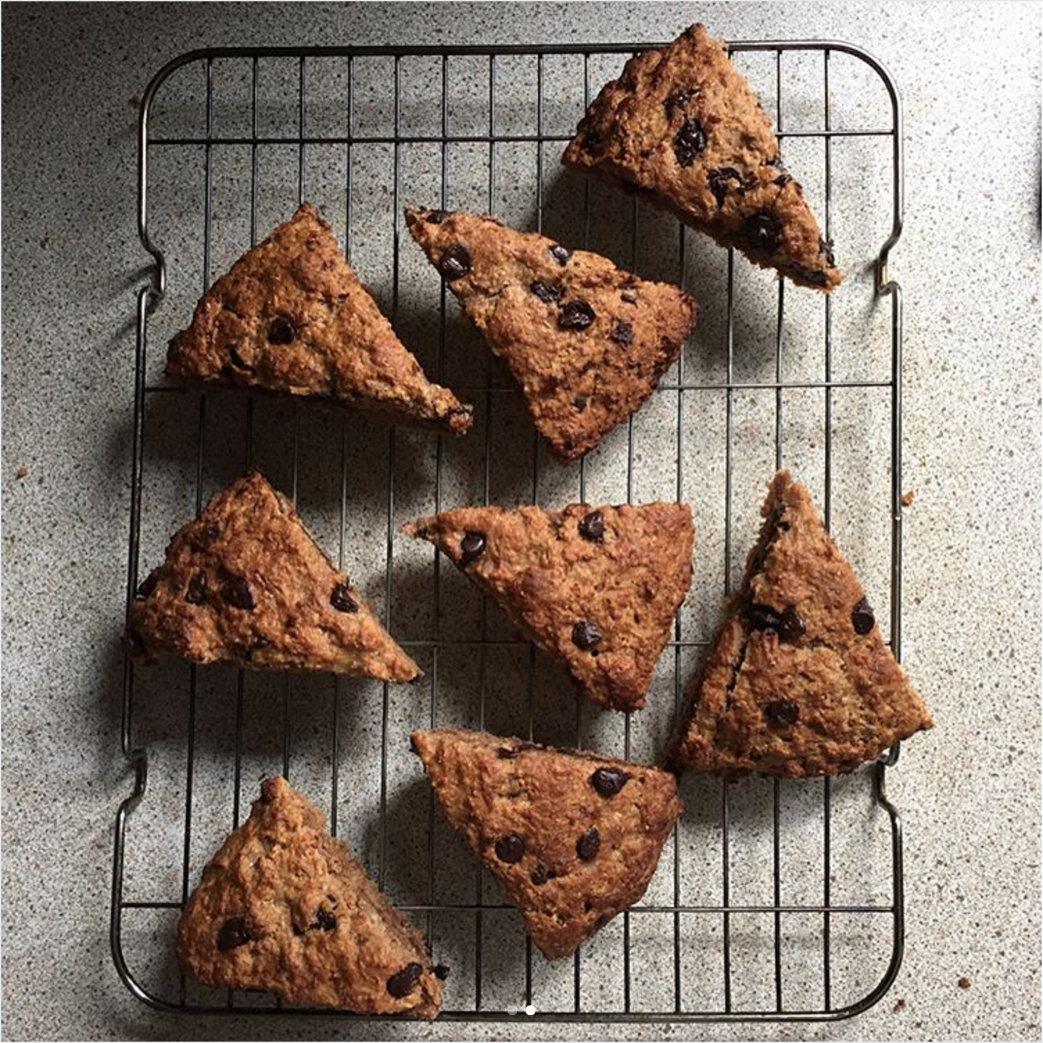 healthy chocolate chip banana bread scones by @hayleyr1403