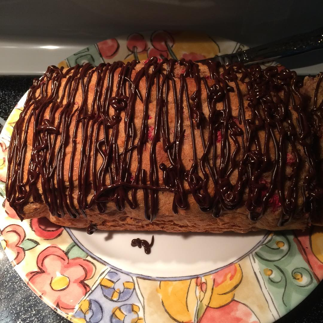chocolate drizzled raspberry banana bread by @mandarae_e