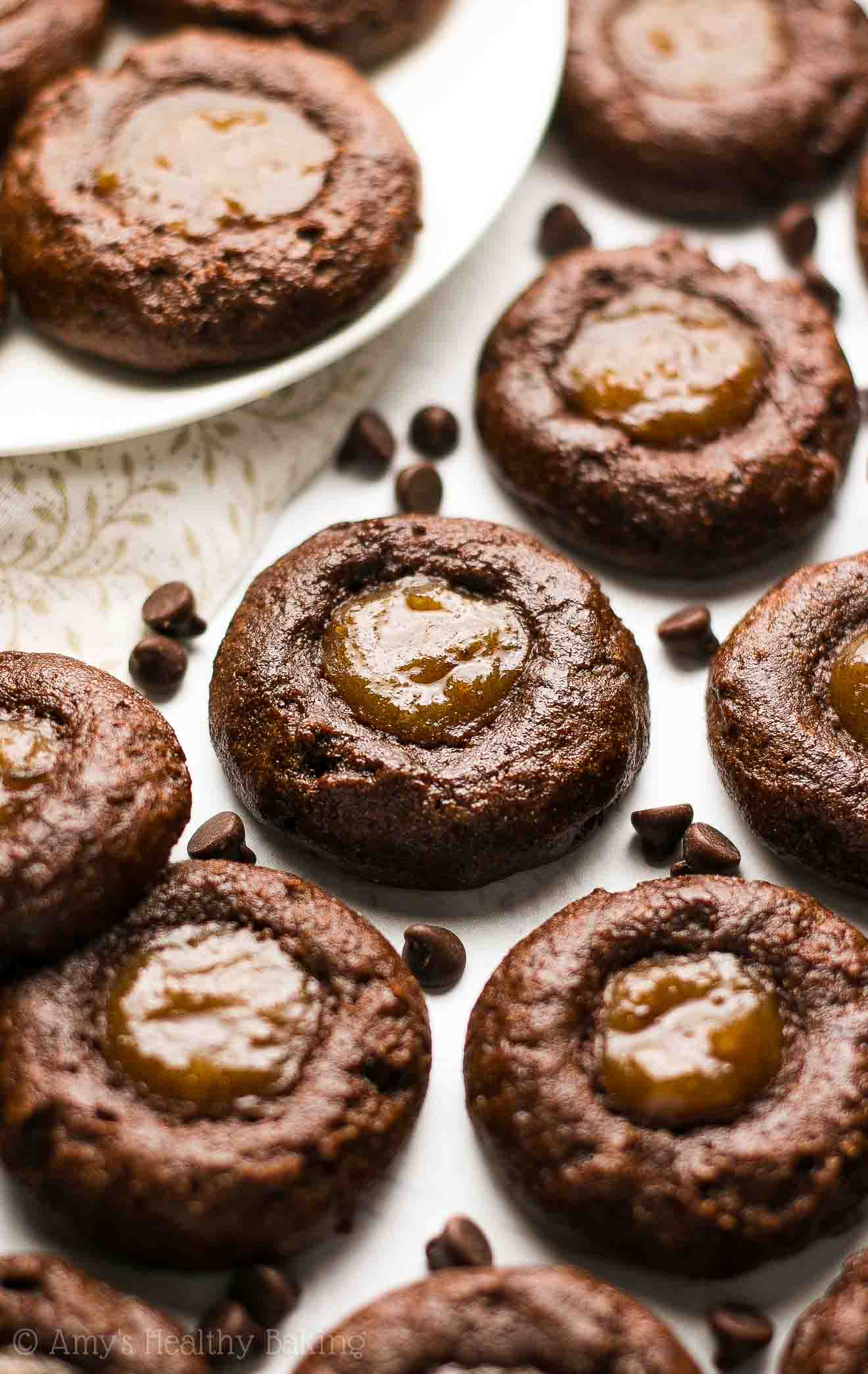 Healthy Dark Chocolate Salted Caramel Thumbprint Cookies | Amy's ...