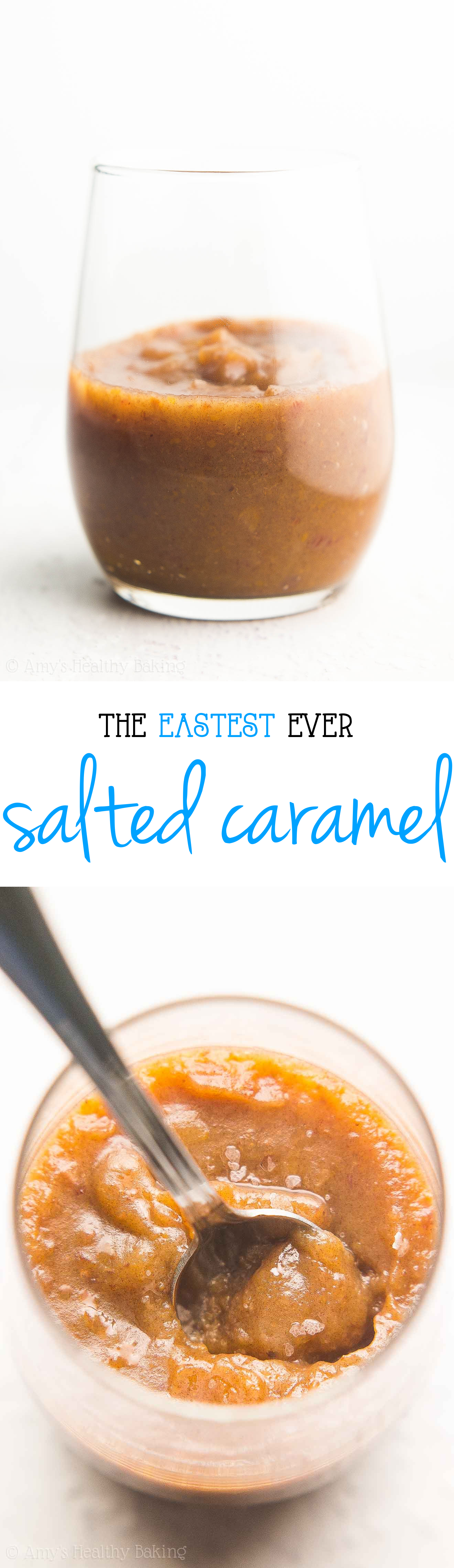 The Easiest Ever {HEALTHY!} Salted Caramel Sauce -- just 3 ingredients & 23 calories! NO heavy cream, butter or sugar in this amazing recipe!!