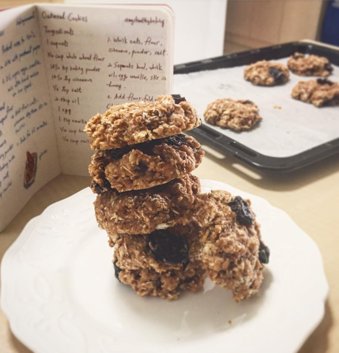 the ultimate healthy oatmeal raisin cookies by @claireeee.lin