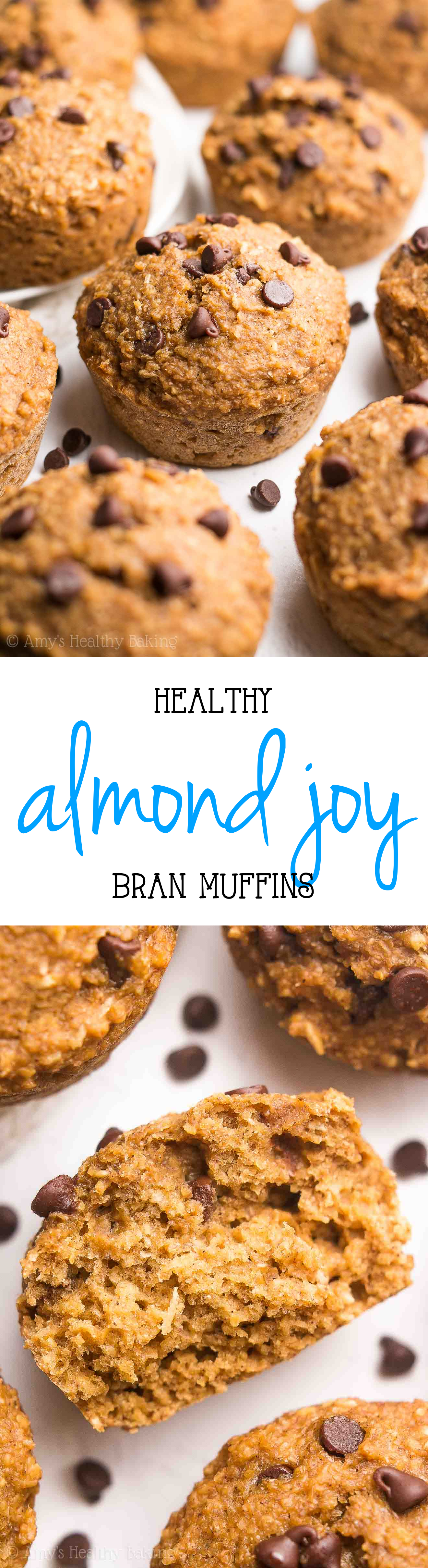 Healthy Almond Joy Bran Muffins -- an easy guilt-free breakfast recipe! They're as tender as cupcakes! SO good!