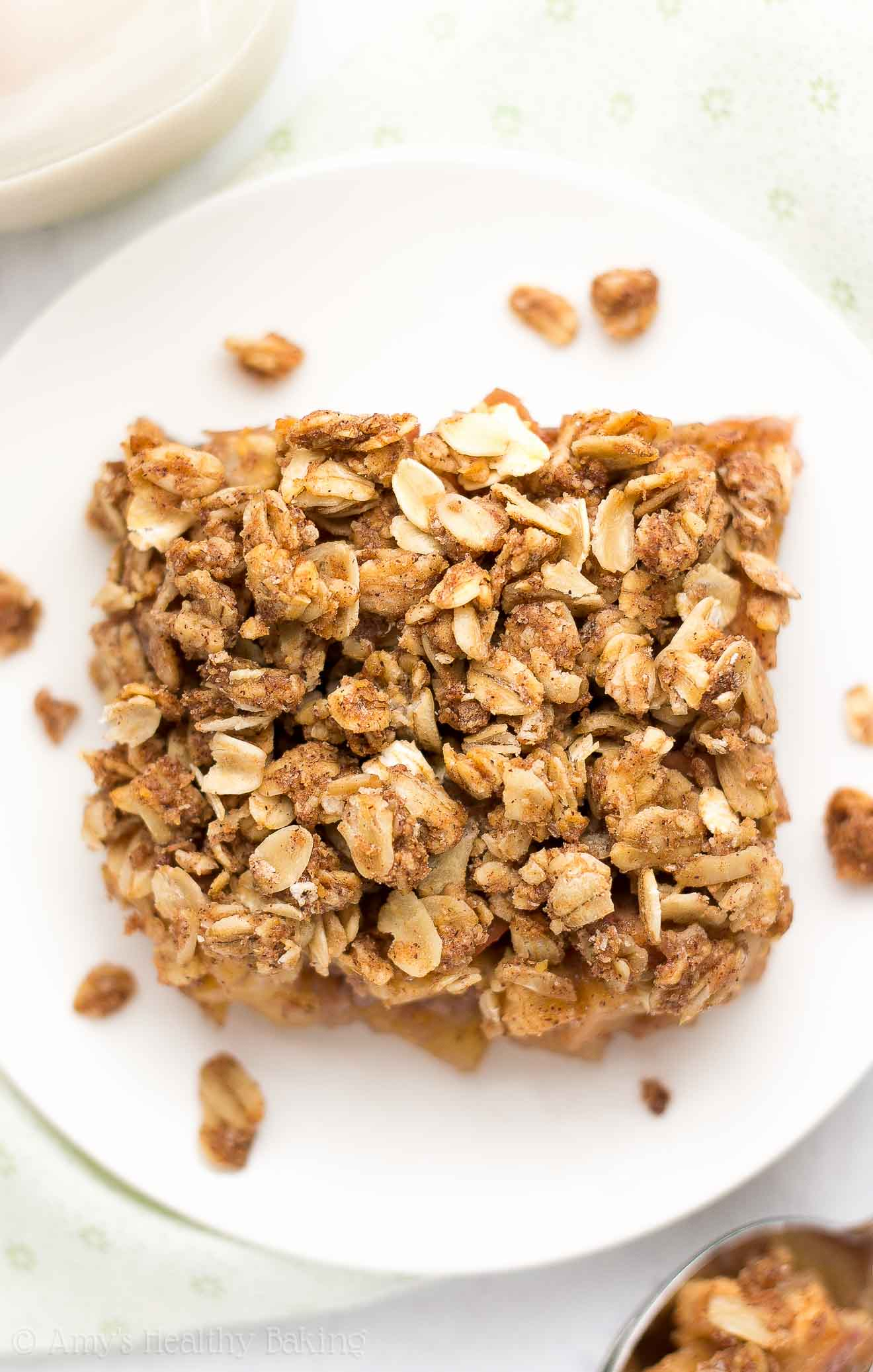 Healthy Chai Spice Apple Crumble -- an easy dessert that's healthy enough for breakfast! It has a full serving of fruit & just 116 calories!