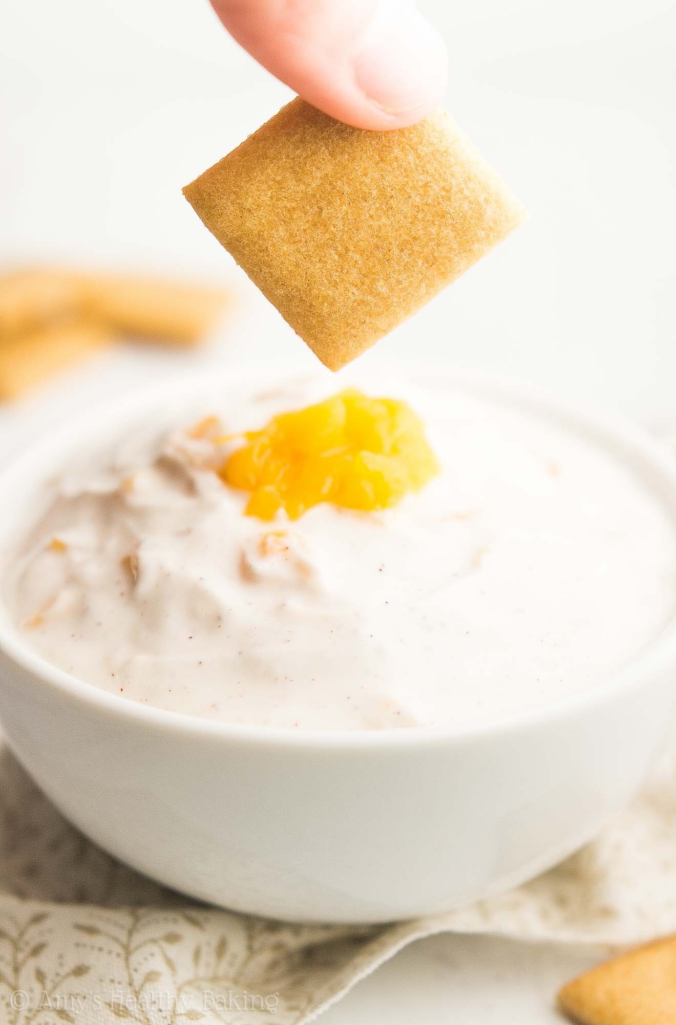 Peach Pie Protein Dip + Healthy Sugar Cookie Dippers -- the perfect summer recipe! Only 109 calories & so easy! Snacks, desserts, picnics, BBQs, 4th of July... Everyone goes CRAZY for this whenever I make it!