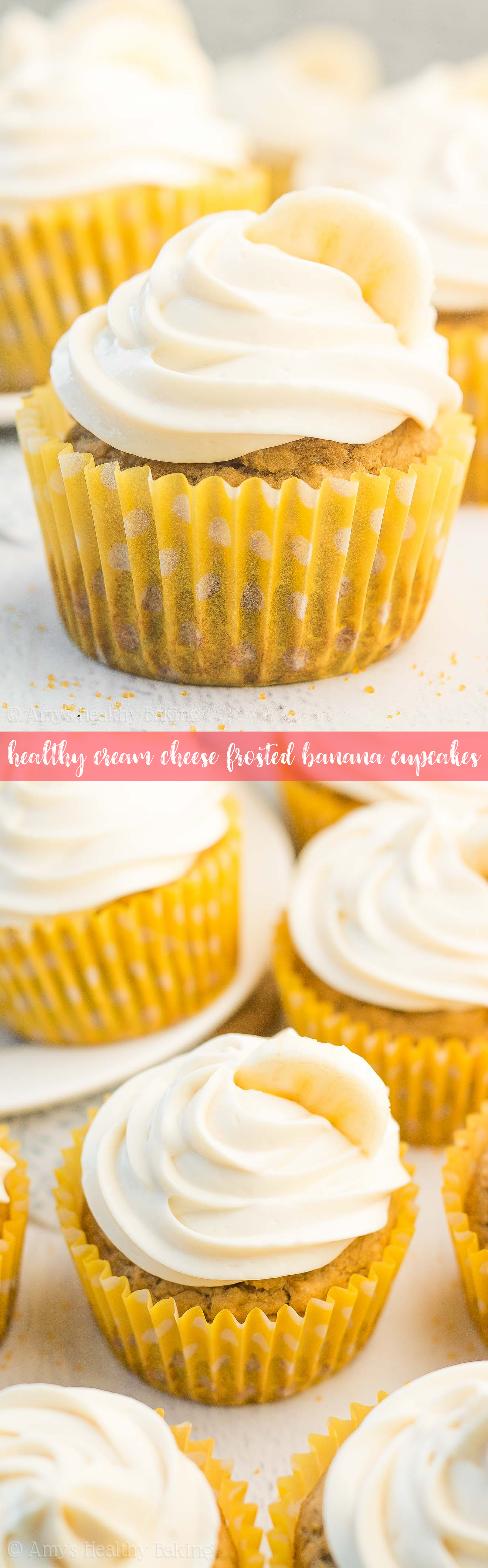 {HEALTHY!} Banana Cupcakes + Cream Cheese Frosting -- only 120 calories! This recipe tastes INCREDIBLE, like it came from a fancy bakery! And it's easier to make than you'd expect!