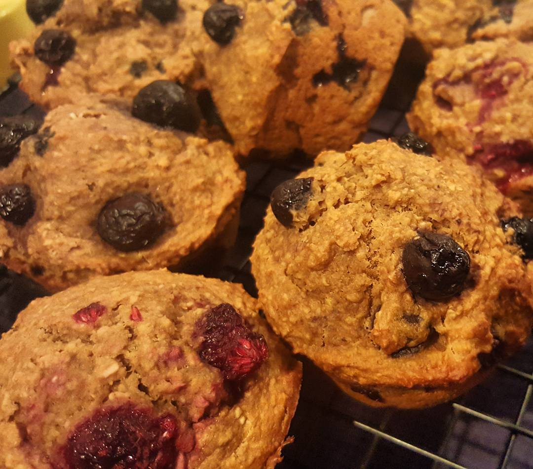 blueberry banana bran muffins {with raspberries too!} by @kathryn.downey