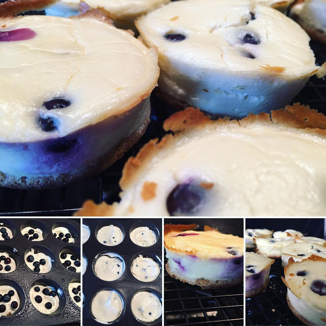 healthy blueberry cheesecake bars by @faxmachinations