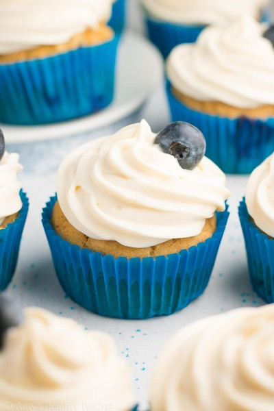 Healthy Blueberry Cupcakes with Cream Cheese Frosting {Recipe Video!}